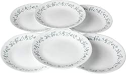 Corelle Livingware Series Printed Country Cottage Glass Plate Set of 6