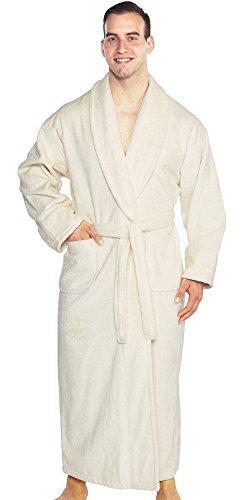 Turkishtowels Mens and Womens Original Terry Shawl Turkish Bathrobe, 100% Combed Pure Turkish Cotton Terry Robe (OSFM, Ivory)