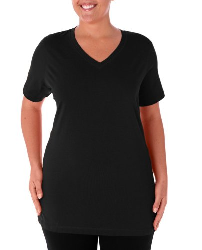 Danskin+Women%27s+Plus+Size+V-Neck+Cotton+Tee%2CBlack%2C3x