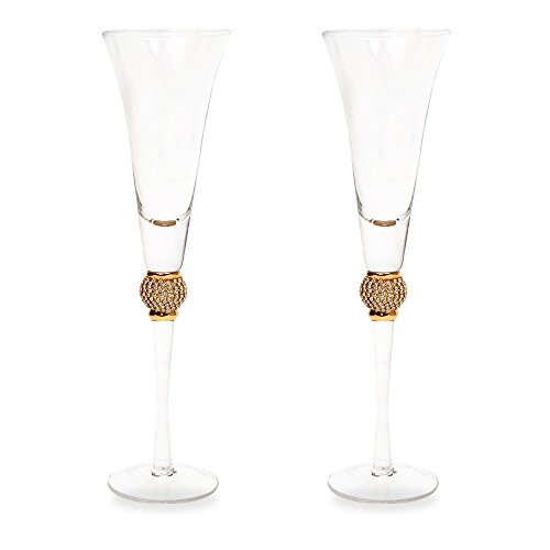 Gold Diamond Champagne Toasting Flute Glasses, Set of 2 by ...