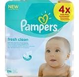 Pampers - Lingettes Freshclean - Les 4 paquet de 64 lingettes