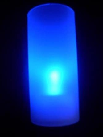 HLS 6 x Blow Out Flickering Flame LED Candle + Frosted Holder in Blue