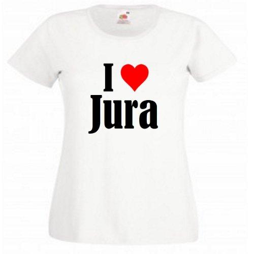 """Damen T-Shirt """"I Love Jura""""Größe""""L""""Farbe""""Weiss""""Druck""""Schwarz"""