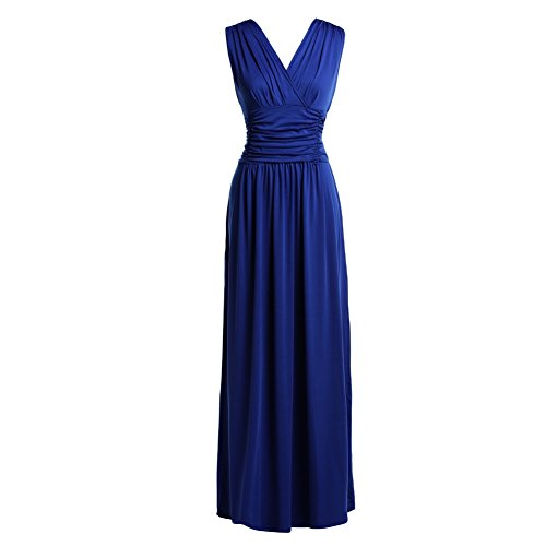 Riveroy Women's Formal V-Neck Ruched Long Prom Plus Size Evening Gown Dress 2XL Royal Blue
