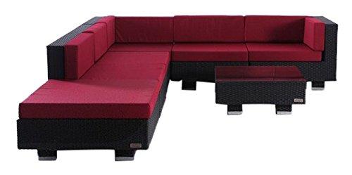 OUTFLEXX exklusive Lounge Sitzgruppe Sofa Set aus hochwertigem Poly-Rattan in schwarz fur 6 Personen inkl. weiche Polster, Kaffee- und Beistelltisch mit klarer aufliegender Glasplatte, wetterfest