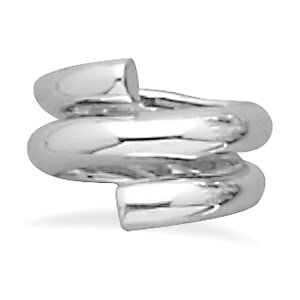 Sterling Silver Polished Three Row Wrap Ring / Size 7