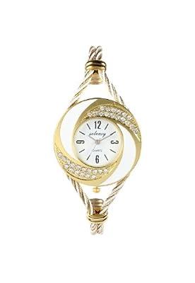 Soleasy New Fashion Women's Bangle Wrist Watch Quartz Gold-White WTH0051