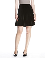 M&S Collection Velour & Panelled Skater Mini Skirt