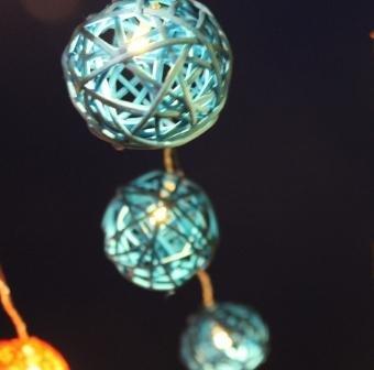 New Solar Powered Led Aqua Blue Rattan Garden Lantern Fairy Light String