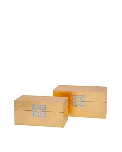 Set of 2 Danes Gold Leaf Boxes