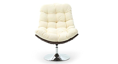 Urban Ladder Calabah Swivel Lounge Chair (Cream)