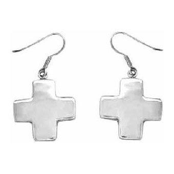 Christian Women's Sterling Silver Square Cross Dangle Earrings - Purity, Chastity Earrings for Girls