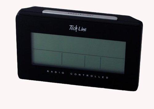 Tech Line LCD Funk Wecker Funkwecker mit Mondpahse Datum Temperatur Kalender