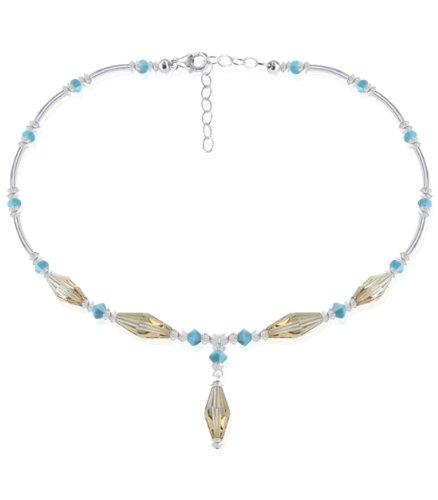 Sterling Silver Golden Shadow and Turquoise Crystal Necklace 22 inch Made with Swarovski Elements