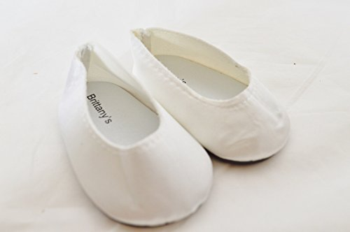 WHITE SATIN SHOES FOR AMERICAN GIRL DOLLS AND BITTY TWINS