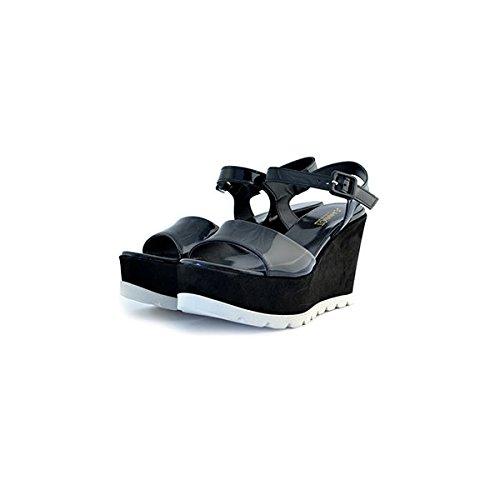 Scarpe sandali donna Jeannot numero 36 36183 in pelle camoscio e vernice nere black zeppa tacco
