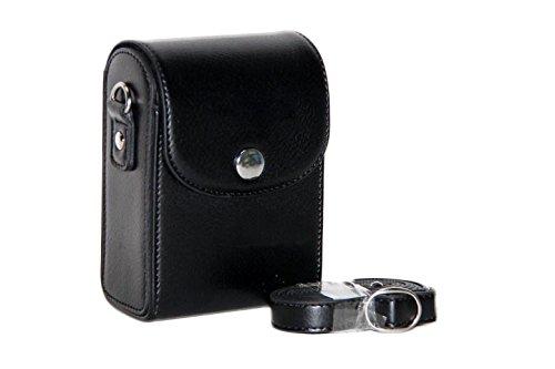 MoreGift4U Schutz PU-Leder Kamera-Schulter-Rucksack Reisen Rucksack-Tasche Tasche Hülle für Samsung WB800F WB201F WB200F WB280F WB150 / F Schwarz + Gratis-Schulter-Ansatz-Bügel-Gurt