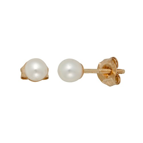 14k Yellow Gold Round Freshwater Cultured Pearl Children's Stud Earrings (3mm )