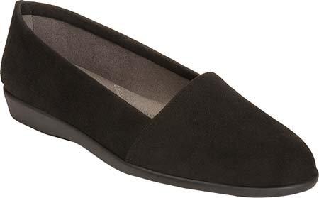 Aerosoles Women's Trend Setter Slip-On Loafer, Black Suede, 8 M US
