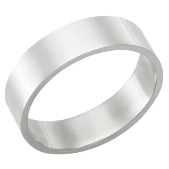 7.0 Millimeters, Flat High Polished 14Kt White Gold Heavy Wedding Band Ring on Sale, FSTF07W Finger Size 3.25