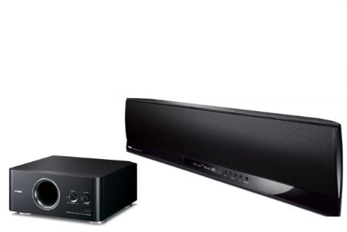 Yamaha Digital Sound Bar YSP-4100 IntelliBeam 7.1 HD Digital Audio 120 Watts Accurately Surround Sound Projector,1080p Compatible + Yamaha YST-FSW150BL Advanced YST II Down-Firing Animated Subwoofer+Yamaha SWK-W10 for wireless subwoofer conectivity