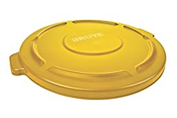 Rubbermaid Commercial FG263100YEL Brute HDPE Lid for Round Waste Container, 32-gallon, Yellow