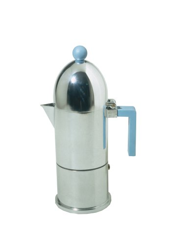 La Cupola Espresso Maker by Aldo Rossi Size: 6 cups, Handle Color: Blue