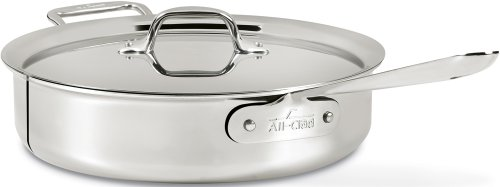 All-Clad 4406 Stainless Steel 3-Ply Bonded Dishwasher Safe 6-Quart Saute Pan with Lid Cookware, Silver