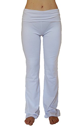 LA Base Women's Long Yoga Pants With Fold Down Waist-White-M