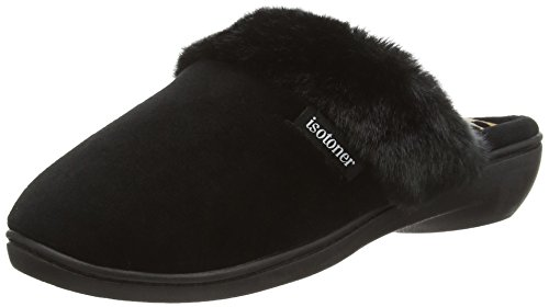 isotoner-heeled-velour-with-fur-cuff-women-open-back-slippers-multicolor-black-panther-5-uk-38-eu