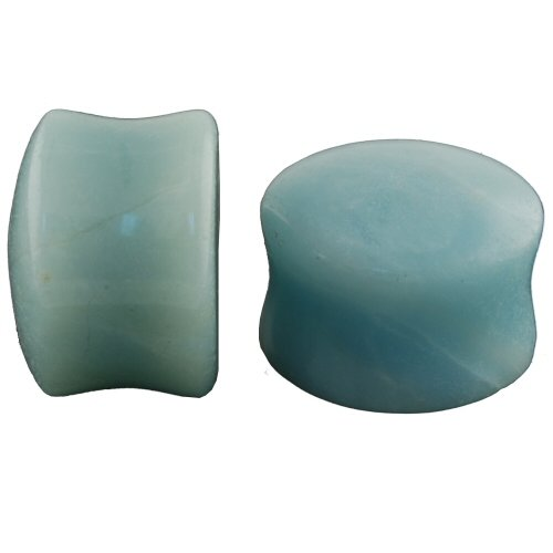 Pair of Amazonite Stone Double Flared Domed Plugs: 5/8