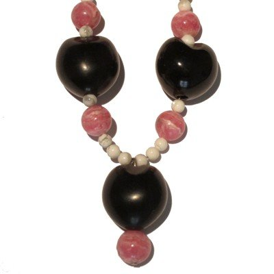 Howlite Necklace 02 Beaded Rhodochrosite Seed Black Pink White Healing 16