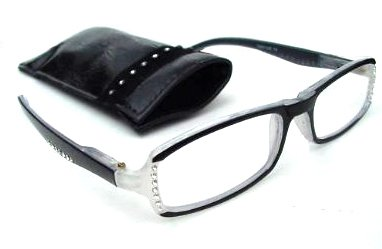 BLACK READING GLASSES SPRUNG ARM DIAMANTE STUDDED D530 (+2.0) by Ackerman