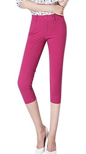 Youtobin Womens Stretch Cotton Cuffed Cropped Casual Skinny Pants 30 Rose Red