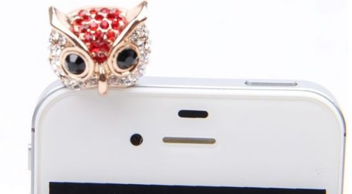 Wisedeal Bling Crystal 3.5Mm Rhinestones Night Owl Pattern Cellphone Charms Anti-Dust Dustproof Earphone Audio Headphone Jack Plug Stopper For Iphone 4 4S Samsung Galaxy S2 S3 Note I9220 Htc Sony Nokia Motorola Lg Lenovo (Red)