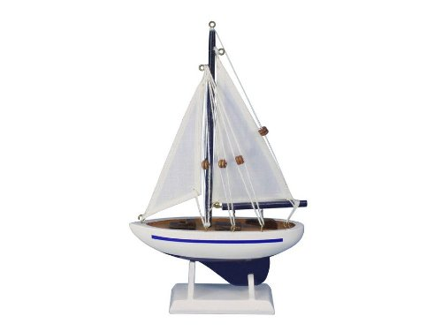 """Handcrafted Nautical Decor Pacific Sailer Blue 9"""" Handcrafted Model Ship, Fully Assembled (Not A Kit)"""