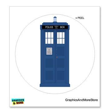 Tardis - Circle - Window Bumper Locker Sticker (Tardis Bumper Sticker compare prices)