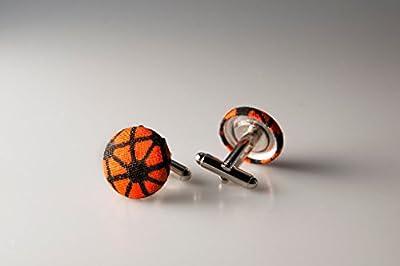 Cufflinks, Fabric button cufflinks, wedding cufflinks, groom cufflinks, African fabric cufflinks, Ankara cufflinks, Orange cuff links
