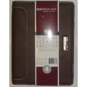 """Day Runner Telephone Address Directory, Page size 8.5"""" x 5.5"""", Color - Brown, Undated"""