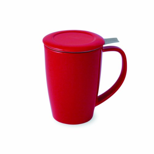FORLIFE Tall 15-Ounce Tea Mug with Infuser and Lid and Lid, Red