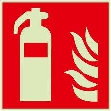 Brandschutzzeichen-Symbolschild-Feuerlscher-ISO-Kunststoffplatte-nachleuchtend--selbstklebend-150x150mm