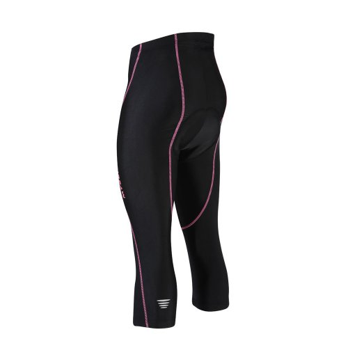 Rusuoo Women's Cycling Cropped Pants Padded Pink Lines Black Trousers