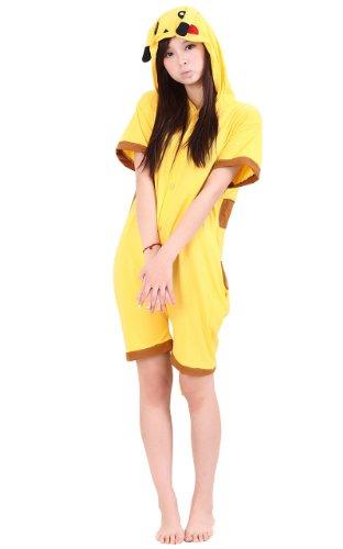 Tonwhar Summer Cartoon Animal One Piece Pajamas Cosplay Costume Adult Sleepwear (M(161-169Cm), Pikachu) front-1053716