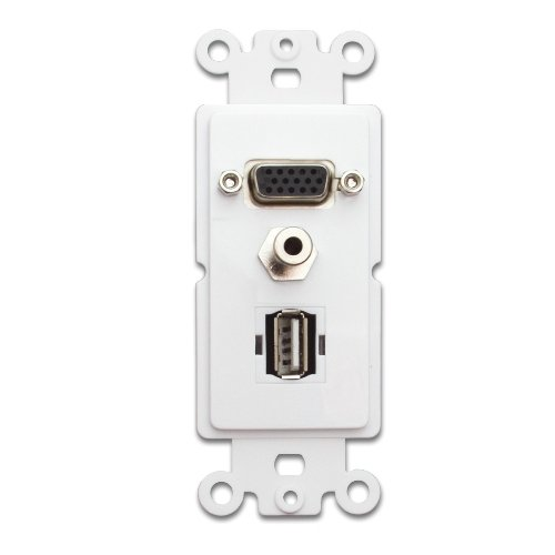 C&E Cne41480 Decora Wall Plate Insert, Vga Coupler 3.5Mm Jack Usb Type A Coupler, Hd15 Female, 3.5Mm Female And Usb Type A Female, White