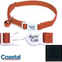 Coastal Pet Products Safe Cat Black Adjustable Nylon Breakaway Collar with Bell for Cats