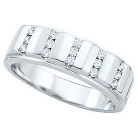 1.00 ct Men's Round Cut Diamond Wedding Ring in 14 kt White Gold.