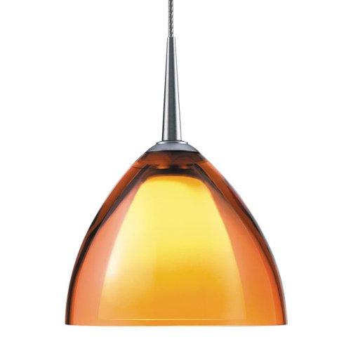 "Rainbow Ii 1 Light Led Mini Pendant Size: 4"" With Junction Box, Finish: Bronze, Shade Color: Orange"