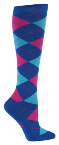 Sock It To Me ARGYLE: BLUE & PINK Womens Knee Socks