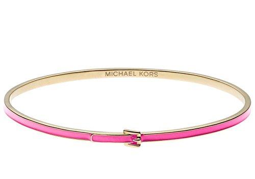 "Michael Kors Mkj2730 Stainless Steel 1/8"" Skinny Pink Buckle Bangle Bracelet"