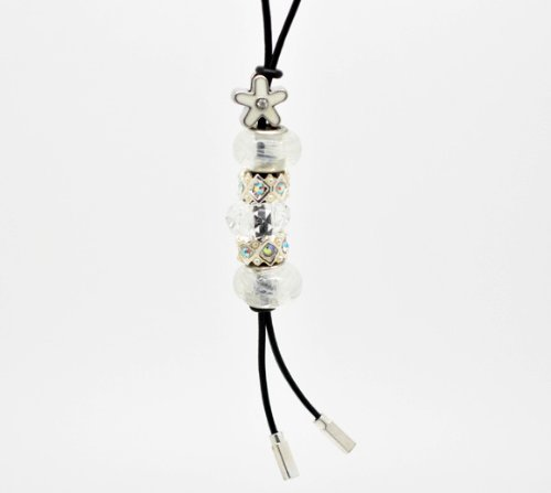 Divine Beads Handmade Real Leather Lariat Charm Necklace Complete With Co-ordinating White Beads fits Pandora, Biagi, Tedora, Chamilia, Bacio, Troll and other European style bracelets